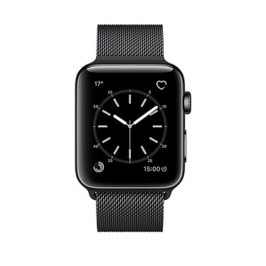 Apple Watch Series 2 Acier Noir Milanais 38 mm
