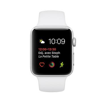 """Apple Watch Series 2 Aluminium Argent Sport Blanc 42 mm Montre connectée - Aluminium - Etanche 50 m - GPS/GLONASS - Cardio-fréquencemètre - Ecran Retina OLED 1.7"""" 390 x 312 pixels - Wi-Fi/Bluetooth 4.0 - watchOS 3 - Bracelet Sport 42 mm"""
