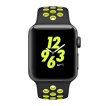 "Apple Watch Nike+ Series 2 Aluminium Gris Sport Noir/Volt 42 mm Montre connectée - Aluminium - Etanche 50 m - GPS/GLONASS - Cardio-fréquencemètre - Ecran Retina OLED 1.7"" 390 x 312 pixels - Wi-Fi/Bluetooth 4.0 - watchOS 3 - Bracelet Sport Nike 42 mm"