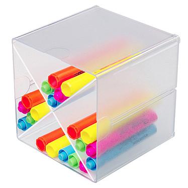 deflecto Cube X Cristal (350201) Bloc de classement avec séparateur en X transparent