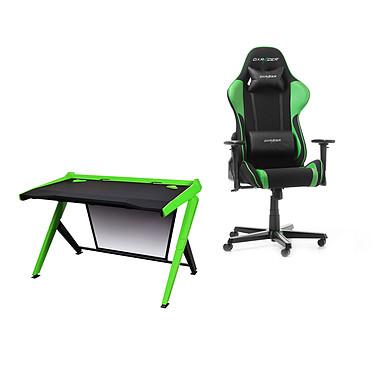 DXRacer Gaming Station (vert) Bureau ergonomique avec système de gestion des câbles pour gamer + Siège en tissu avec dossier inclinable 135° et accoudoirs 3D (jusqu'à 100 kg)