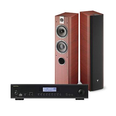 Rotel A-12 Noir + Focal Chorus 716 Rosewood Amplificateur intégré Hi-Fi stéréo 2 x 60 Watts avec Bluetooth et DAC + Enceinte colonne (par paire)