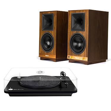 Elipson Alpha 100 RIAA Noir + Klipsch The Sixes Platine vinyle à 2 vitesses (33-45 trs/min) avec pré-ampli intégré + Enceinte sans fil Hi-Fi Bluetooth et USB (par paire)