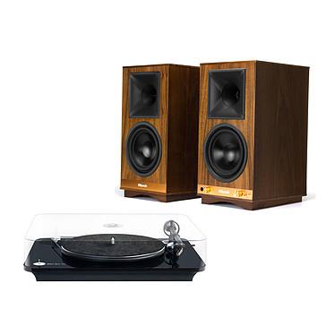 Elipson Omega 100 RIAA Noir + Klipsch The Sixes Platine vinyle à 2 vitesses (33-45 trs/min) avec pré-ampli intégré + Enceinte sans fil Hi-Fi Bluetooth et USB (par paire)