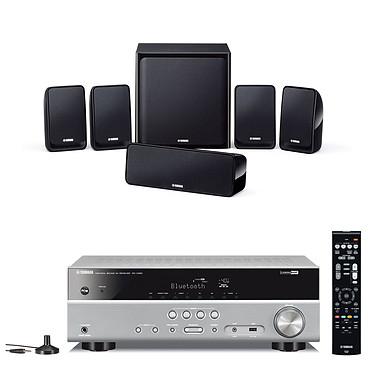 Yamaha RX-V383 Titane + Yamaha NS-P20 Ampli-tuner Home Cinéma 5.1 3D avec Upscaling 4K, HDMI 2.0, HDCP 2.2, HDR 10, Bluetooth et calibration YPAO + Pack d'enceintes 5.1