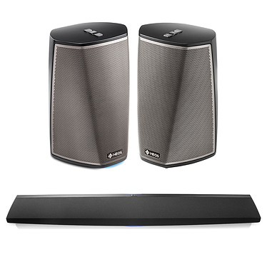 Denon HEOS Bar + Denon HEOS 1 HS2 Noir Barre de son 3.0 multiroom avec Wi-Fi et Bluetooth + Enceintes sans fil multiroom close avec Wi-Fi, Bluetooth, USB compatible Hi-Res Audio (par paire)