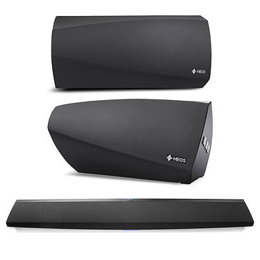 Denon HEOS Bar + Denon HEOS 3 HS2 Barre de son 3.0 multiroom avec Wi-Fi et Bluetooth + Enceinte sans fil multiroom Bass Reflex avec Wi-Fi, Bluetooth, USB compatible Hi-Res Audio (par paire)