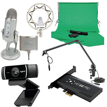 Streaming Expert Pack Boîtier d'acquisition haut définition (compatible PC / Xbox One / PlayStation 4 / Xbox 360 / Wii U) + Webcam + Microphone + Filtre anti-pop et suspension micro + Bras articulé