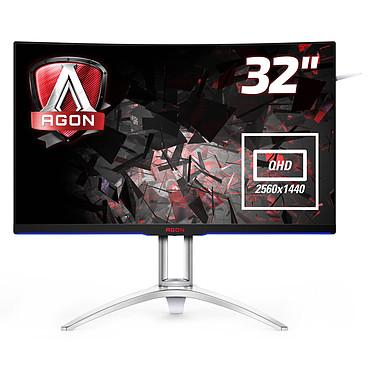 """AOC 31.5"""" LED - AGON AG322QCX 2560 x 1440 pixels - 4 ms (gris à gris) - Format large 16/9 - Dalle MVA incurvée - 144 Hz - DisplayPort - HDMI - Adaptive-Sync - Hub USB 3.0 - Noir/Argent"""