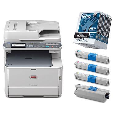Oki MC562dnw + Toners Oki + Ramettes 500 feuilles A4 x5 Imprimante multifonction couleur 4-en-1 (USB 2.0/Ethernet/Wi-Fi) + Toners Cyan, Magenta, Jaune, Noir + Carton de 5 ramettes de papier 500 feuilles A4 80g blanc