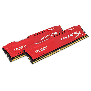 HyperX Fury Rouge 16 Go (2x 8Go) DDR4 2400 MHz CL15 Kit Dual Channel 2 barrettes de RAM DDR4 PC4-19200 - HX424C15FR2K2/16