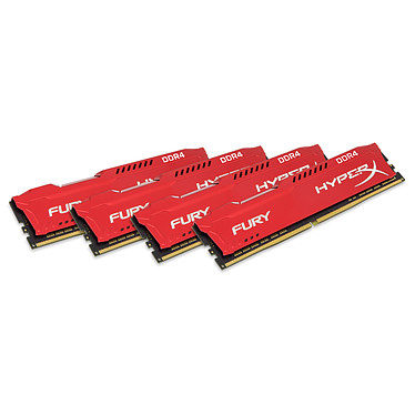 HyperX Fury Rouge 64 Go (4x 16 Go) DDR4 2666 MHz CL16 Kit Quad Channel 4 barrettes de RAM DDR4 PC4-21300 - HX426C16FRK4/64