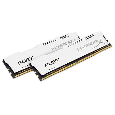 HyperX Fury Blanc 32 Go (2x 16Go) DDR4 2400 MHz CL15 Kit Dual Channel 2 barrettes de RAM DDR4 PC4-19200 - HX424C15FWK2/32