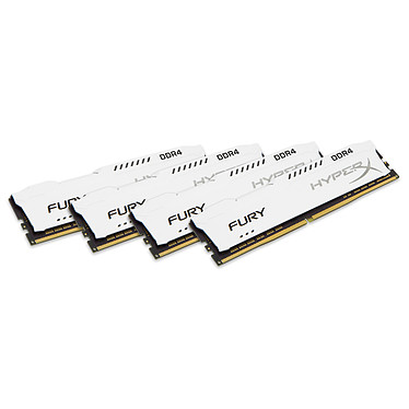 HyperX Fury Blanc 32 Go (4x 8 Go) DDR4 2400 MHz CL15 Kit Quad Channel 4 barrettes de RAM DDR4 PC4-19200 - HX424C15FW2K4/32