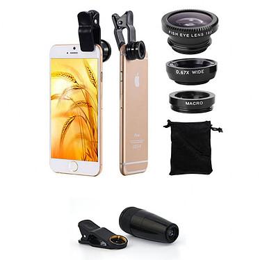 Akashi Kit photo 5-en-1 Ensemble pour smartphone avec 4 objectifs, clip universel, trépied et housse de transport