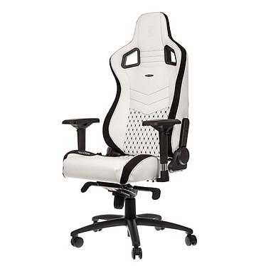 Noblechairs Epic (blanc/noir) Siège en similicuir avec dossier inclinable à 135° et accoudoirs 4D pour gamer (jusqu'à 120 kg)