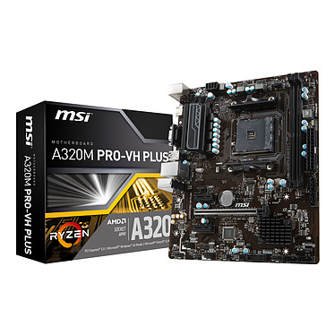 MSI A320M PRO-VH PLUS Carte mère Micro ATX Socket AM4 AMD A320 - 4x DDR4 - SATA 6Gb/s - USB 3.1 - 1x PCI-Express 3.0 16x - Bonne affaire (article utilisé, garantie 6 mois)