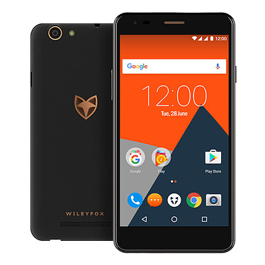 "Wileyfox Spark X Noir Smartphone 4G-LTE Dual SIM - Mediatek MT6735 Quad-Core 1.3 GHz - RAM 2 Go - Ecran tactile 5.5"" 720 x 1280 - 16 Go - Bluetooth 4.1 - 3000 mAh - Android 7.0"