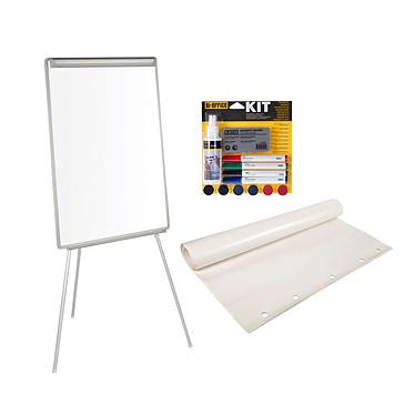 Bi-Office Chevalet de conférence laqué 70 x 100 cm + Kit magnétique + Recharge papier