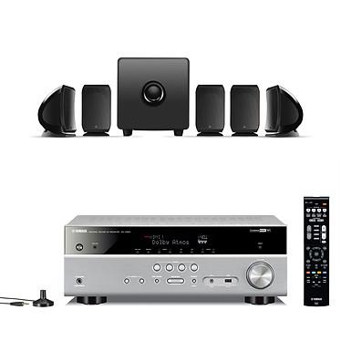 Yamaha MusicCast RX-V583 Titane + FOCAL SIB & CUB 3 JET BLACK Ampli-tuner Home Cinéma 7.2 3D avec Dolby Atmos, DTS:X, HDMI 2.0, HDCP 2.2, Upscaling Ultra HD 4K, Wi-Fi, Bluetooth, AirPlay et MusicCast + Pack d'enceintes 5.1