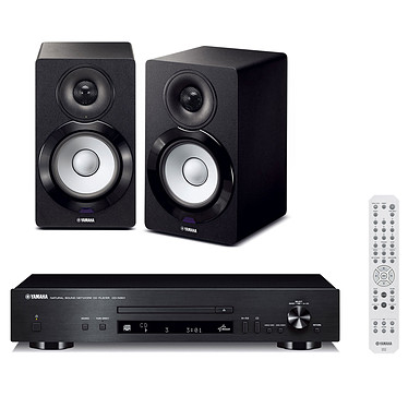 Yamaha CD-N301 Noir + NX-N500 Platine CD MP3 USB iPod Réseau DLNA AirPlay vTuner + Enceintes de monitoring actives 2 x 45 W (par paire)