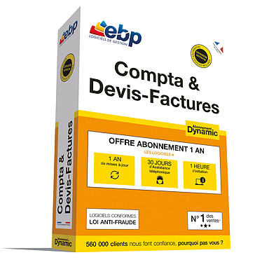 EBP Compta & Devis-Factures Abonnement Dynamic Logiciel de devis, facturation et comptabilité (Français, WINDOWS)