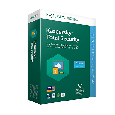 Kaspersky Total Security 2018 - Licence 5 postes 1 an