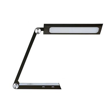 Ineo Design Bermudes Noir Lampe de bureau LED à tête pivotante - 1000 Lux -  avec port de charge USB et à induction - Coloris noir
