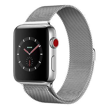 Apple Watch Series 3 GPS + Cellular Acier Milanais 42 mm Montre connectée - Acier inoxydable - Etanche 50 m - GPS/GLONASS - Cardiofréquencemètre - Ecran Retina OLED 390 x 312 pixels - Wi-Fi/Bluetooth 4.2 - watchOS 4 - Bracelet Milanais 42 mm