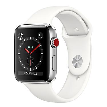 Apple Watch Series 3 GPS + Cellular Acier Sport Coton 42 mm Montre connectée - Acier inoxydable - Etanche 50 m - GPS/GLONASS - Cardiofréquencemètre - Ecran Retina OLED 390 x 312 pixels - Wi-Fi/Bluetooth 4.2 - watchOS 4 - Bracelet Sport 42 mm