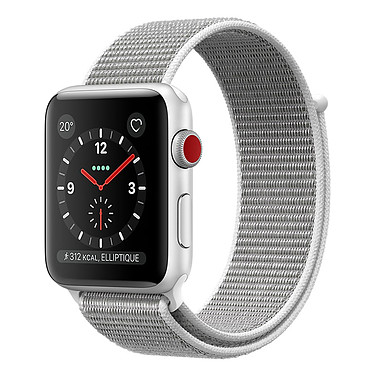 Apple Watch Series 3 GPS + Cellular Aluminium Argent Sport Coquillage 42 mm Montre connectée - Aluminium - Etanche 50 m - GPS/GLONASS - Cardiofréquencemètre - Ecran Retina OLED 390 x 312 pixels - Wi-Fi/Bluetooth 4.2 - watchOS 4 - Bracelet Boucle Sport 42 mm