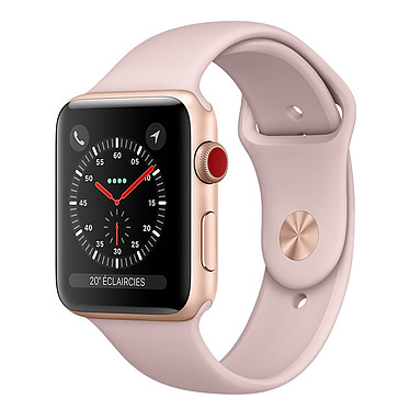Apple Watch Series 3 GPS + Cellular Aluminium Or Sport Rose 42 mm Montre connectée - Aluminium - Etanche 50 m - GPS/GLONASS - Cardiofréquencemètre - Ecran Retina OLED 390 x 312 pixels - Wi-Fi/Bluetooth 4.2 - watchOS 4 - Bracelet Sport 42 mm