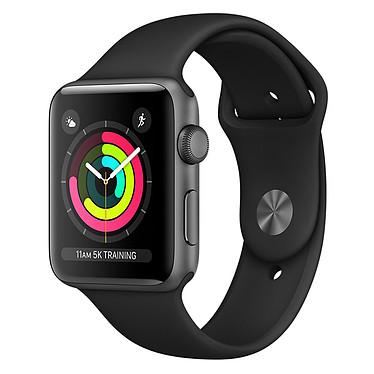 Apple Watch Series 3 GPS Aluminium Gris Sport Noir 38 mm Montre connectée - Aluminium - Etanche 50 m - GPS/GLONASS - Cardiofréquencemètre - Ecran Retina OLED 340 x 272 pixels - Wi-Fi/Bluetooth 4.2 - watchOS 4 - Bracelet Sport 42 mm