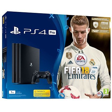 Sony PlayStation 4 Pro (1 To) + FIFA 18 Console Ultra HD 4K avec disque dur 1 To et manette sans fil + FIFA 18