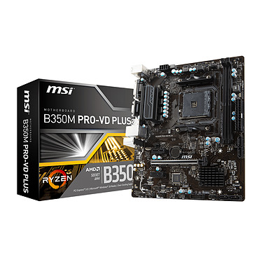 MSI B350M PRO-VD PLUS Carte mère Micro ATX Socket AM4 AMD B350 - 2x DDR4 - SATA 6Gb/s - USB 3.0 - 1x PCI-Express 3.0 16x