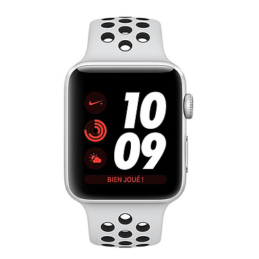Apple Watch Nike+ Series 3 GPS Aluminium Argent Sport Platine/Noir 38 mm Montre connectée - Aluminium - Etanche 50 m - GPS/GLONASS - Cardiofréquencemètre - Ecran Retina OLED 340 x 272 pixels - Wi-Fi/Bluetooth 4.2 - watchOS 4 - Bracelet Sport 38 mm