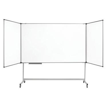 Bi-Office Blanc Triptyque Mobile Industriel Maya 100 x 150/300 cm Triptyque sur piètement mobile 5 faces laquées magnétiques 100 x 150/300 cm