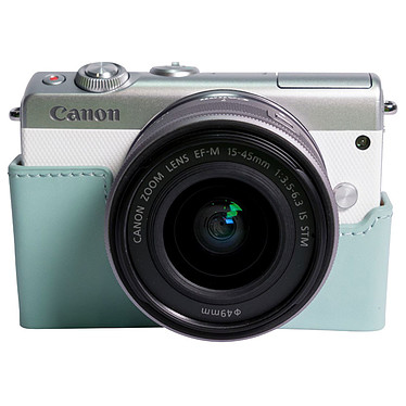 "Canon EOS M100 Blanc + EF-M 15-45 mm IS STM + Étui turquoise Appareil photo 24.2 MP - Vidéo Full HD 60p - Dual Pixel - Écran LCD tactile inclinable 3"" - Wi-Fi - NFC - Bluetooth + Objectif EF-M 15-45 mm IS STM + Étui"