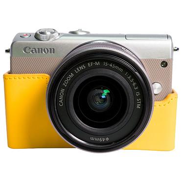 """Canon EOS M100 Argent + EF-M 15-45 mm IS STM + Étui jaune Appareil photo 24.2 MP - Vidéo Full HD 60p - Dual Pixel - Écran LCD tactile inclinable 3"""" - Wi-Fi - NFC - Bluetooth + Objectif EF-M 15-45 mm IS STM + Étui"""