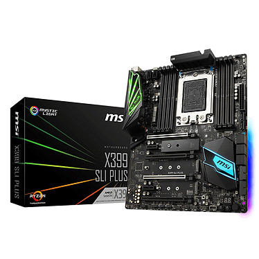 MSI X399 SLI PLUS Carte mère ATX Socket sTR4 AMD X399 - 8x DDR4 - SATA 6Gb/s + M.2 - USB 3.1 - 4x PCI-Express 3.0 16x