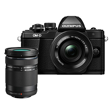 "Olympus E-M10 MK II Noir + 14-42 mm pancake + 40-150 mm R Appareil photo hybride 16.1 MP - Ecran tactile inclinable 3"" - Vidéo Full HD - Stabilisation 5 axes - Wi-Fi + M.ZUIKO DIGITAL ED 14-42mm 1:3.5-5.6 EZ Pancake + M.ZUIKO DIGITAL ED 40-150mm 1:4.0-5.6 R"