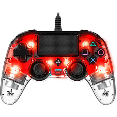 Nacon Gaming Illuminated Compact Controller Rouge  Manette gaming filaire et lumineuse pour PlayStation 4