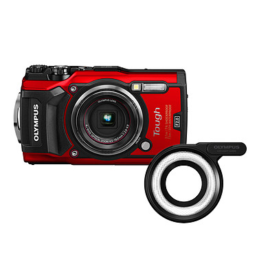 Olympus TG-5 Rouge + LG-1 Appareil photo baroudeur 12 MP - Zoom grand-angle 4x - Vidéo 4K - GPS - Wi-Fi / HDMI + Guide de lumière photo macro