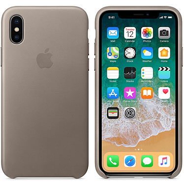 Apple Coque en cuir Taupe Apple iPhone X Coque en cuir pour Apple iPhone X