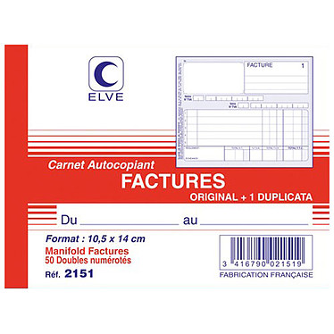 Elve Carnet de Factures 140 x 105 mm Carnet Factures, format A6, 50 dupli