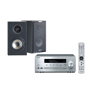 Yamaha MusicCast CRX-N470D Argent + Cabasse Antigua MC170 Ebène Mini-chaîne multiroom CD MP3 USB Wi-Fi Bluetooth et AirPlay avec MusicCast + Enceinte bibliothèque (par paire)