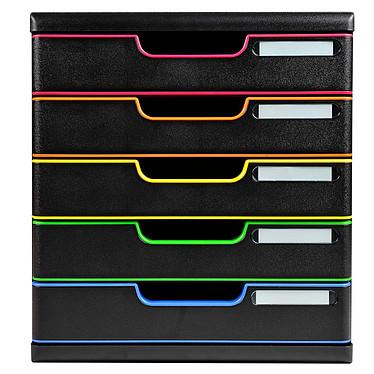 Exacompta Modulo 5 tiroirs Noir / Arlequin Bloc de classement 5 tiroirs A4+ fermés coloris noir / Arlequin