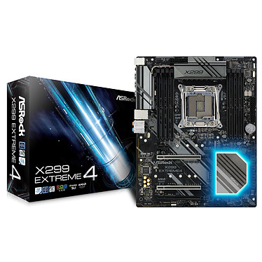 ASRock X299 Extreme4 Carte mère ATX Socket 2066 Intel X299 Express - 8x DDR4 - SATA 6Gb/s + Ultra M.2 - USB 3.1 - 3x PCI-Express 3.0 16x