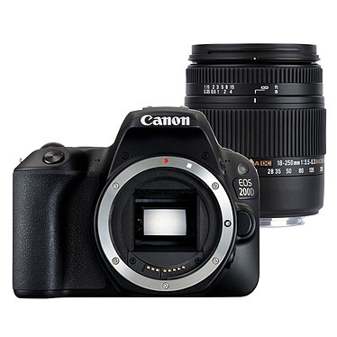 "Canon EOS 200D + SIGMA 18-250mm f/3.5-6.3 DC Macro OS HSM Reflex Numérique 24.2 MP - Ecran tactile 3"" - Vidéo Full HD - Wi-Fi/NFC - Bluetooth + Zoom standard"