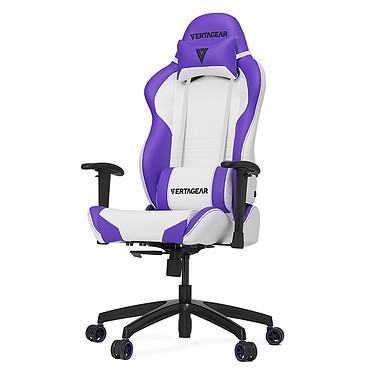 Vertagear Racing SL2000 (blanc/violet) Siège en similicuir avec dossier réglable à 140° et accoudoirs 2D pour gamer (jusqu'à 150 kg)